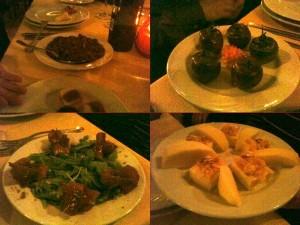 Sa 'ide e s'ollia - piatto medioevale, pomodori ripieni, carpaccio, tartine